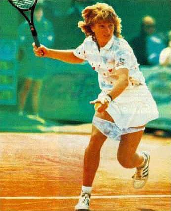 Zo probeert Steffi Graf Navratilova uit haar concentratie te halen